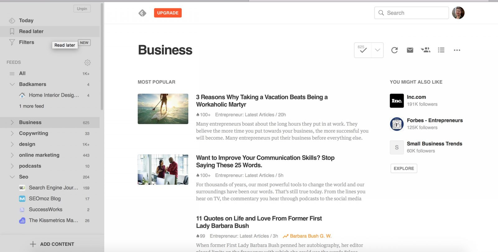 Inspiratie voor business blog - Feedly